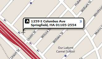 Map of Springfield, Massachusetts, branch at 1259 East Columbus Avenue, 01105-2554